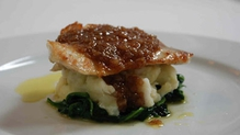 Turbot with a shallot confit and cod brandade