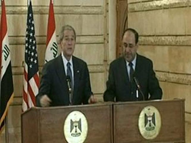 George W Bush - Ducked shoes thrown during press conference