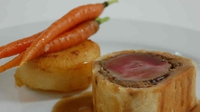 Beef Wellington With Fondant Potatoes And Vichy Carrots - Dermot Bannon serves up this traditional main on The Restaurant.