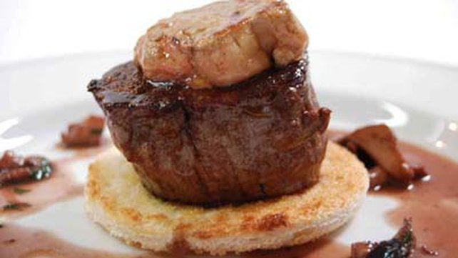 Tournedos Rossini With Wild Mushrooms And Red Wine Reduction