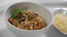 Coriander-Infused Shellfish Risotto With Desmond Cheese and Black Truffle