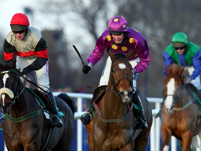 Big Zeb (centre) ridden by Matthew O'Connor was a handy winner of the Dial-A-Bet Chase
