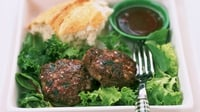 Lamb Burgers - Served in bread rolls with a side salad.
