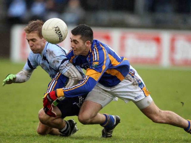 John Cooper of Dublin and Wicklow's Darren Hayden battle for possession
