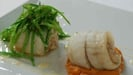 Cleggan Crab Stuffed Fillet of Brill With An Oyster Velouté, Sweet Potato Purée and Mange Tout Pickle