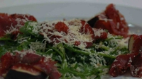 Air-dried Sliabh Luchra Beef with fresh figs, Desmond Cheese and Rocket Salad - Kate O