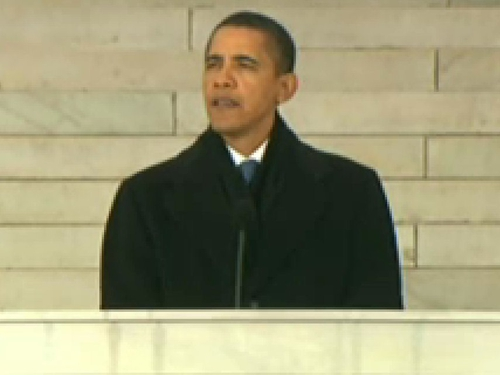 Barack Obama - 'Behind me.. sits the man who in so many ways made this day possible'