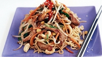 Pork Stir Fry with Cashew Nuts & Buttered Noodles - A tasty meal that only takes eight minutes to make!