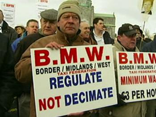 Galway - Taxi drivers protest