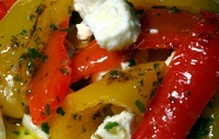 Dr Eva's Low Calorie Party Snacks - Sweet chili peppers stuffed with feta cheese and yoghurt.