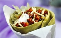 Filled tortillas with stir fry mince and vegetables - Delicious tortillas with 520 - 650 calories.