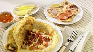 Savoury Pancakes with Brie and Parma Ham