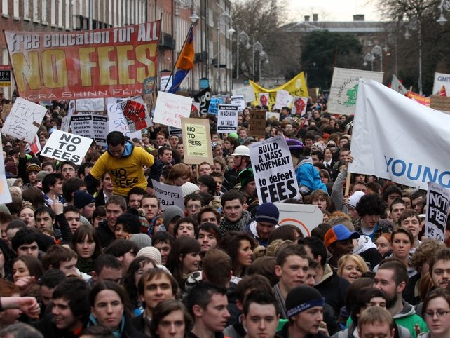 Student protest - Marched to Merrion Square