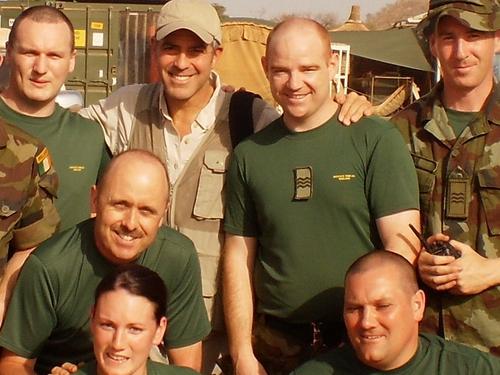 Clooney Meets Irish Troops In Chad