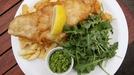 Traditional Fish & Chips with Mushy Peas & Tartar Sauce - Fish and chips served with mushy peas!