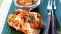 Parmesan Chicken with Tomato sauce and Rustic Potatoes, Green Salad Leaves with Walnut dressing - Margaret Campbell serves parmesan chicken with rustic potatoes.