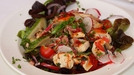 Warm Chicken & Smoked Bacon Salad, with a sweet chilli dressing - A warming appetiser.