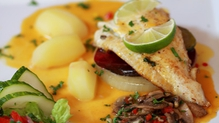 Fillet of Brill served with Caramelised Vegetables on a Fresh Orange & Lime Jus