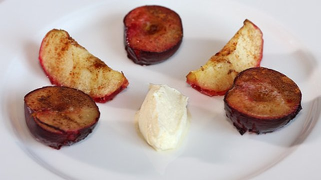 Roast Autumn Fruit with Vanilla Mascarpone Cream