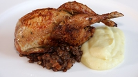 Stuffed Honey-Roast Quail, Celeriac Mash & Puy Lentils - A flavoursome main course.