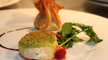 Herb Crust Goats Cheese with Fennel and Wild Mushroom Filo Parcel