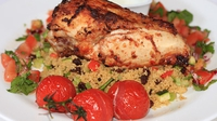 Spiced Chicken Breast, Moroccan Cous Cous, tomato and red onion salsa and cumin and cucumber yogurt dip - A deliciously spiced dish.