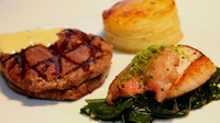 Pan Fried Fillet of Beef and Scallops Served with Gratin Dauphinois and wilted spinach - A great recipe for a dinner party.