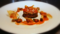 Seared Aubergine with Ratatouille and Fresh Tomato Sauce - A great way to start a meal.
