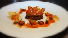 Seared Aubergine with Ratatouille and Fresh Tomato Sauce