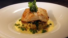 Pan fried Turbot with crushed potato and champagne beurre blanc