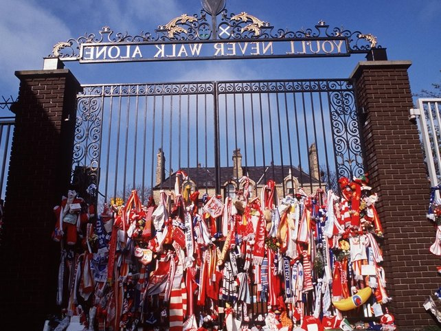 A floral tribute at the Shankly Gates at Anfield in the aftermath of the tragedy