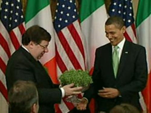 Cowen & Obama - St Patrick's Day shamrock gift