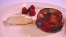 Prosecco and Berry Fruit Jelly served with Cinnamon Cream - Light and fruity with a dash of cinnamon cream.