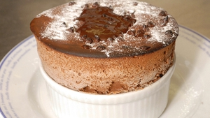 Chocolate Soufflé served with Vanilla Ice Cream and Warm Chocolate Sauce: Heat