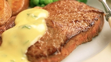 Prime Irish Rib Eye Steak, Honey Roasted Root Vegetables, Fondant Potato and Béarnaise Sauce