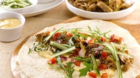 Slow cooked spiced shoulder of lamb wraps - A tasty and satisfying lunch, with garlic aioli and tomato salsa