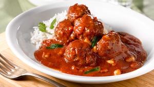 Pork meatballs with tomato, chorizo and white bean stew