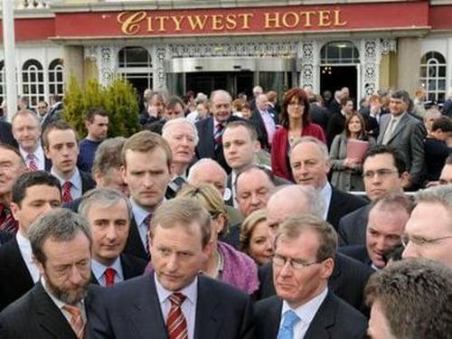 Dublin - Fine Gael leader and delegates Pic: Liam Sweeney