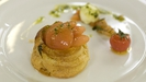 Puff pastry tartlet with buffalo mozzarella, plum Tomatoes and basil pesto