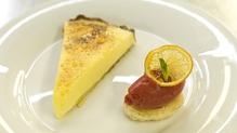 Lemon Cream Tart with Raspberry Sorbet