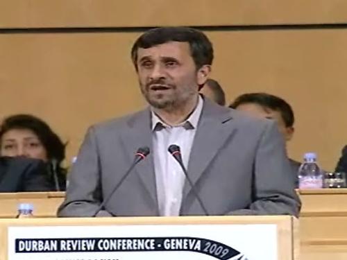 Mahmoud Ahmadinejad - Addresses conference on racism