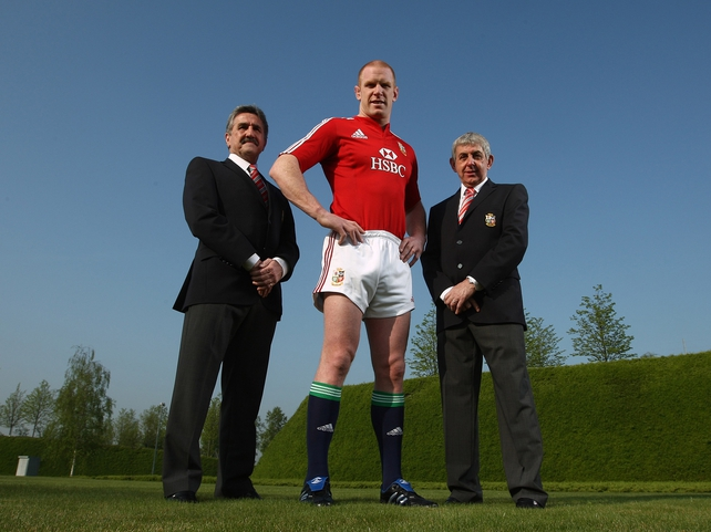 Paul O'Connell is joined by Tour Manager Gerald Davies and Head Coach Ian McGeechan at today's photocall