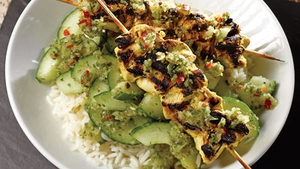 Chicken Tikka Kebabs with Cucumber and Coriander Relish