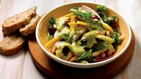 Warm Chicken Salad with Cashew Nuts and Mango Dressing - Serve with some nice bread.