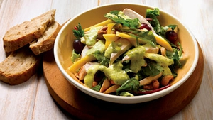 Warm Chicken Salad with Cashew Nuts and Mango Dressing