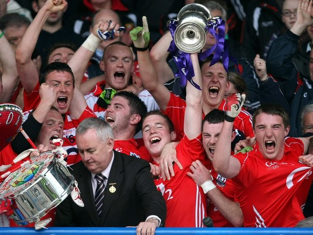 Cork captain Colm O'Neill with the Clarke Cup