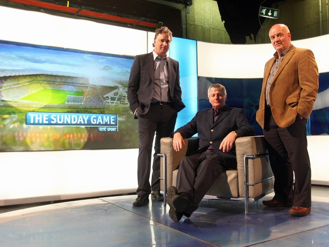 Tomás Mulcahy, Michael Lyster and the returning Cyril Farrell reacquaint themselves with The Sunday Game studio