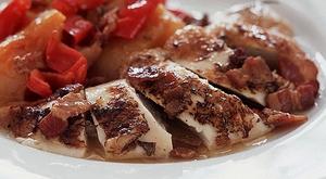 Free Range Pot Roast Chicken with Crisp Chicken Skin Crackling, Thyme Roast Potatoes and Glazed Vegetables