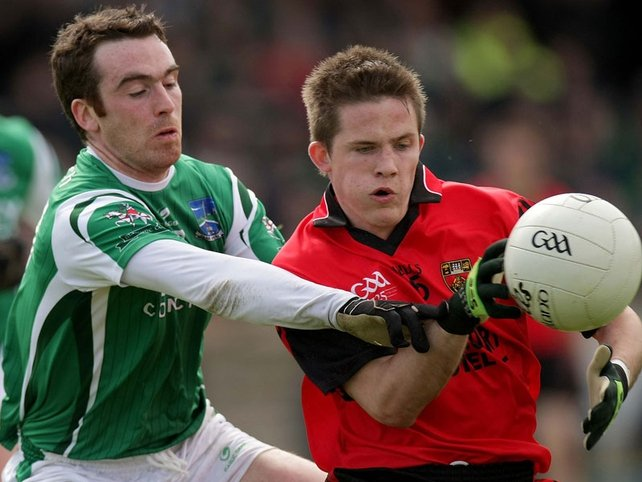 Fermanagh's Niall Bogue and Down's Paul McComiskey battle for possesion at Brewster Park