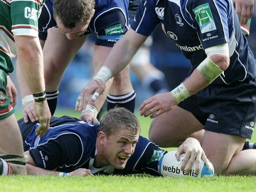 Jamie Heaslip touches the ball down for Leinster's only try at Murrayfield